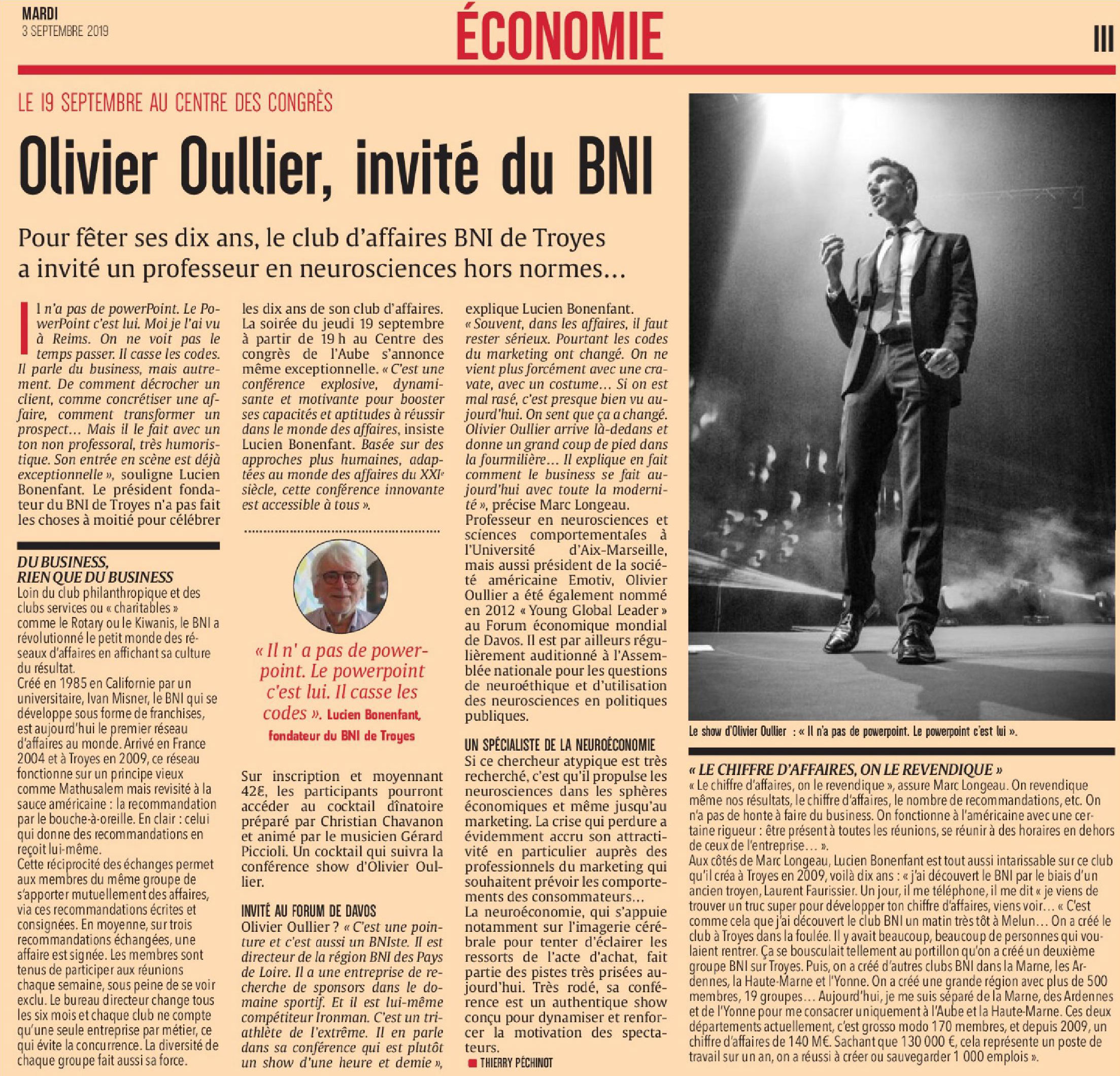 Olivier Oullié & the Speaker's Band dans la Presse - Génération Business Attitude